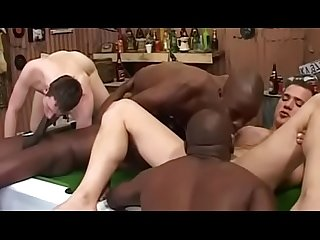 African white interracial gay orgy