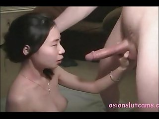 Chinese petite fucked hard by steobrother and gets cum on head and face asianslutcams club