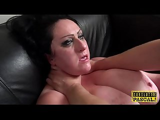 Bound chubby Britt toyed while fucked by dom