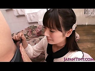 Tiny japanese babe on knees sucking cock