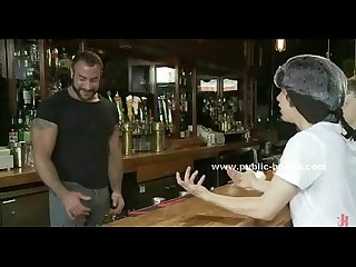 Strong sexy gay bartender punishing