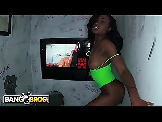 BANGBROS - Young and Beautiful Ebony Babe Sucking Dicks In Glory Hole Loads