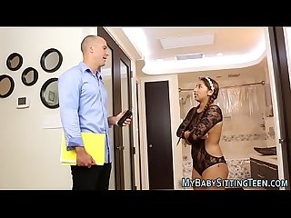 Latina babysitter drilled