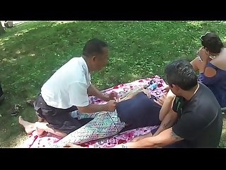 Chinese massage in park
