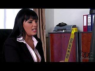 Busty detective Jasmine black titty fucks sucks suspect