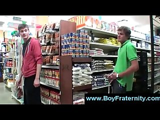 College boy masturbates in the aisle of grocery store