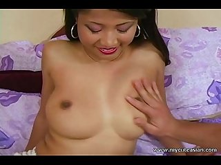 Sexy amateur asian blowjob with cum on tits