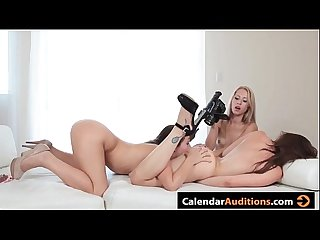 Fucking hot lesbian threesome at calendar audition