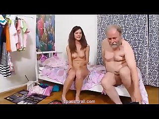 Teen doing it all on her bed with A grandpa