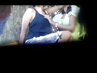 Indian village real Lesbian hidden cam tape in open field