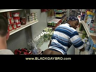 White perv blows and fucks black gay queer in store