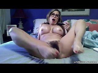 Hairy old amy with sexy glasses and big tits