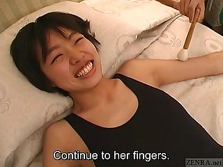 Subtitled real japanese teen sneezing and tickle teasing