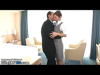 Japanese flight attendant in pantyhose gets fucked