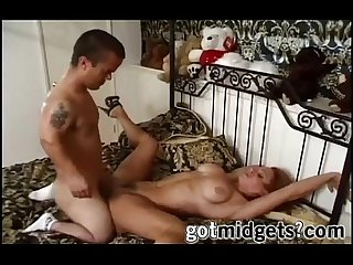 Bad ass midget fucks redhead milf like a boss