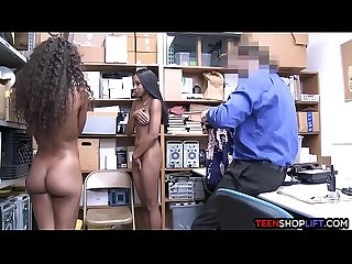 Ebony teen thief saved from the cops by her hot sister