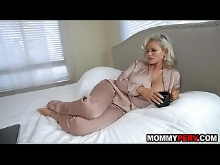 Step mom with huge fake tits fucks s.