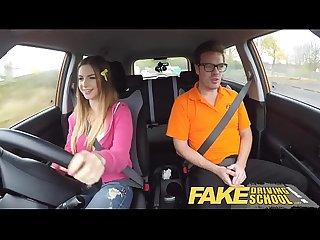 fake Driving school big tits italian college student fucks for early exam
