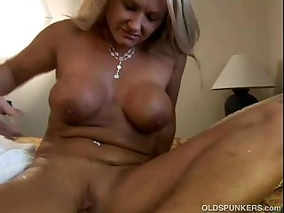 Ravishing mature blonde Roxy loves to fuck younger guys