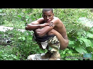Cock strong twink soldier by the river