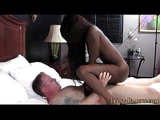 Black Teen rides cock