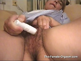 Hot and Wet Hairy MILF has Real Pussy Popping Orgasms