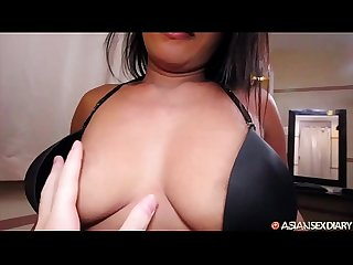 Amateur Asian gets fucked by big white cock