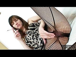 Gorgeous czech model alice in fishnet pantyhose smoking