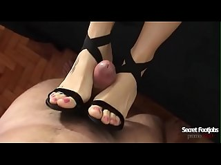 Andrea tied my dick in her high heel and gave a perfect footjob! Huge cumshot on your..