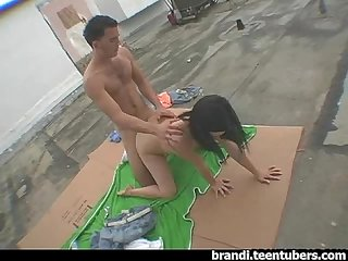 Teen Couple caught fucking on the Roof Top