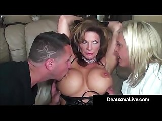 Role play by sexy cat woman milf deauxma ends in 3 way fuck