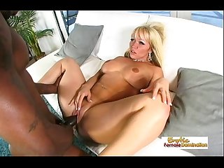 Curvy blonde cougar makes a black cock cum on her face