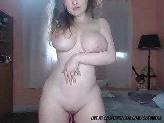 Stunning milky white big boob girl dancing infront of camera