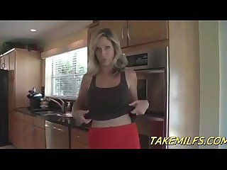 Blonde milf mom rewards her stepson for doing chores pov hd