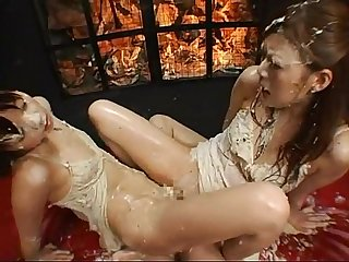 Two asian ladies having puke and enema fun