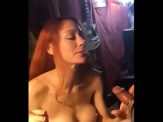 Red head sucks a fat guy in Chicago Illinois