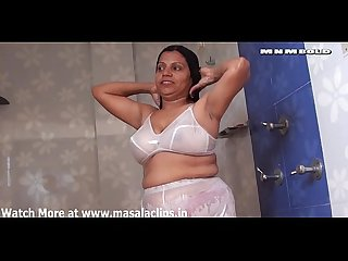 Desi aunty hot wet bathing in white dress