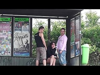 A hot girl with pefect figure public sex threesome with 2 guys