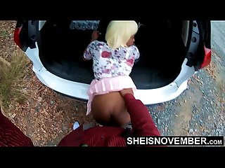 Big Booty Black Babe Step Daughter Fucked Hardcore Doggystyle Outside In Public By Older Step..