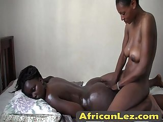 Sexy ebony babes enjoying hot lesbian action
