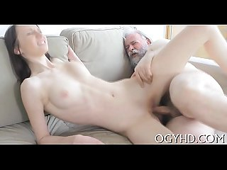 Young playgirl sucks and rides old pecker