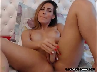 Milf masturbates with dildo on cam