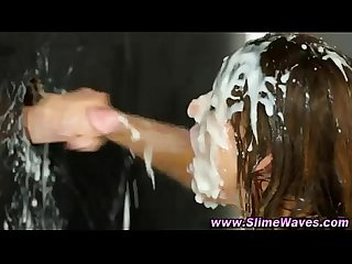 Slime gloryhole bukkake girl