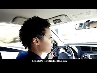 Chocolate skin Teen Slut rides her driving instructor for test pass