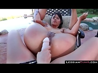Mom and Daughter Strapon Fucking Outdoors �?� LesbianCUMS.com