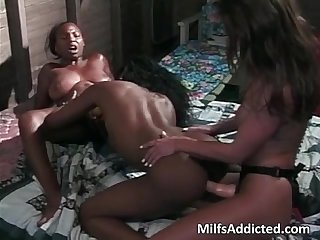 Two amazing ebony sluts plays with her