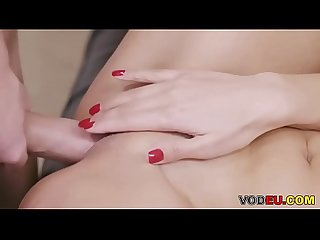 VODEU - Busty Kira Queen finishes her man with a titfuck