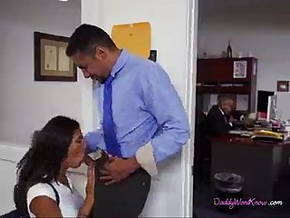 Indian bitch giving a blowjob handjob to employee in office side by boss