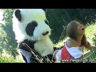 Toy panda and teen fake facial