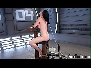 Inked babe restrained for pussy toying